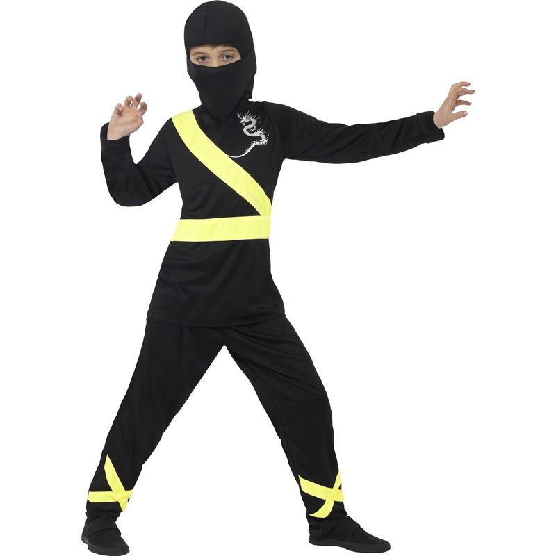 Ninja kostuum zwart/geel voor kinderen