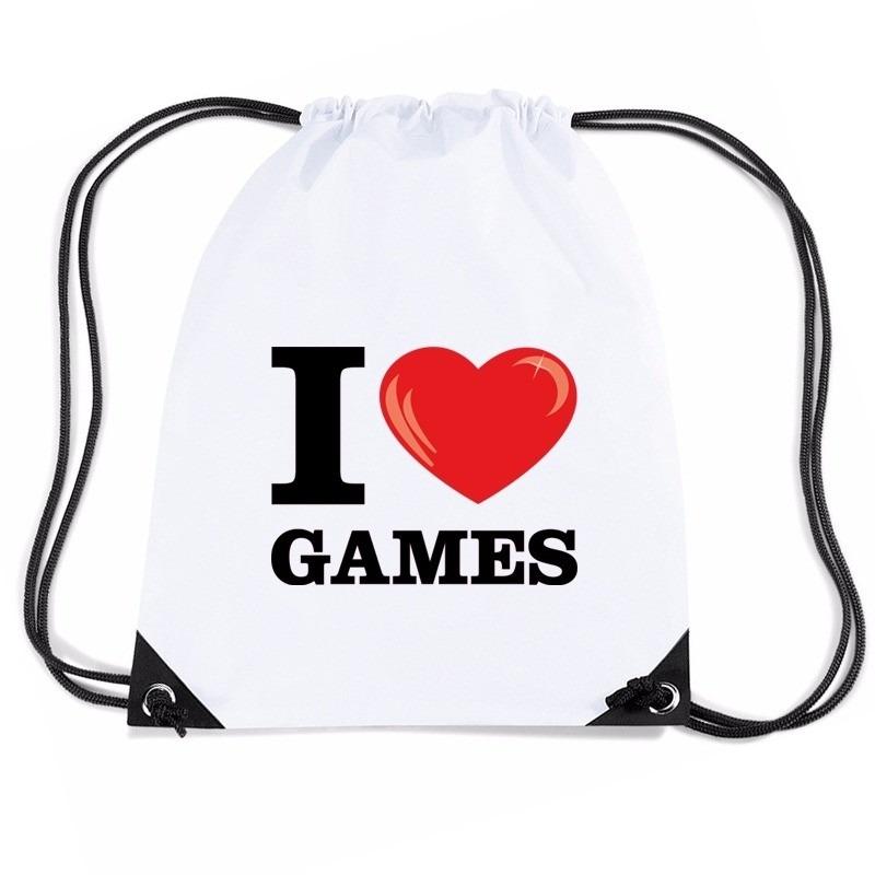 Nylon I love games rugzak wit met rijgkoord