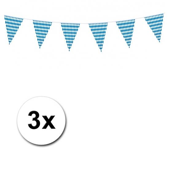 Oktoberfest - 3x Plastic Beieren vlaggenlijn 10 meter