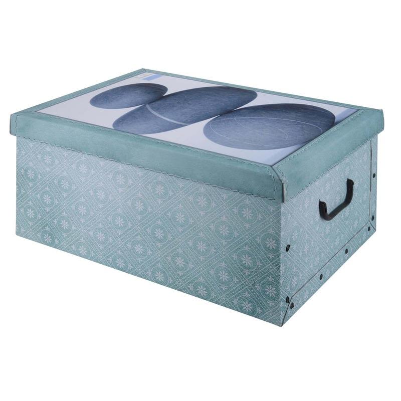 Opbergbox/opbergdoos van stevig karton met deksel en handvaten. zeeblauw new nature design opbergers box. ...