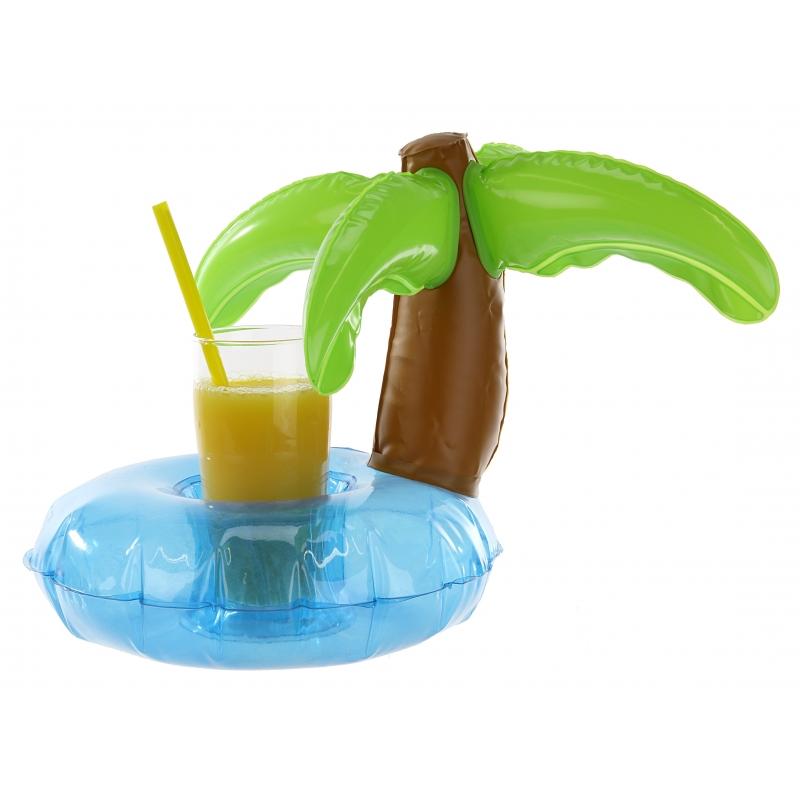 Hawaii feestartikelen Geen Opblaasbare palmboom beker houder 22 cm