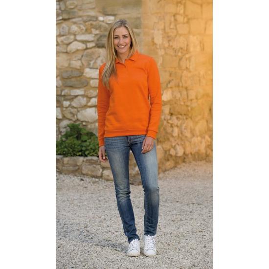 Oranje dames sweater met polo kraag L S Truien en sweaters