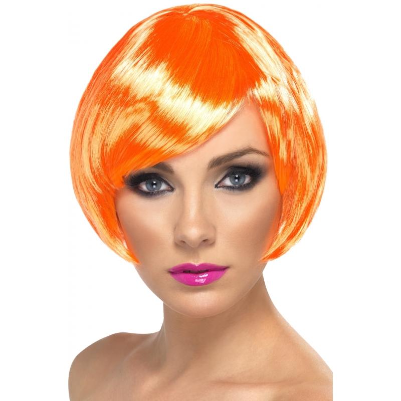 Oranje damespruik kort haar