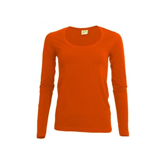 T shirts en poloshirts Lemon Soda Oranje damesshirt lange mouw