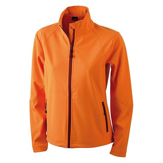 Jassen en bodywarmers James Nicholson Oranje softshell dames jas