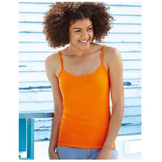 T shirts en poloshirts Fruit Of The Loom Oranje spaghetti shirtje van katoen