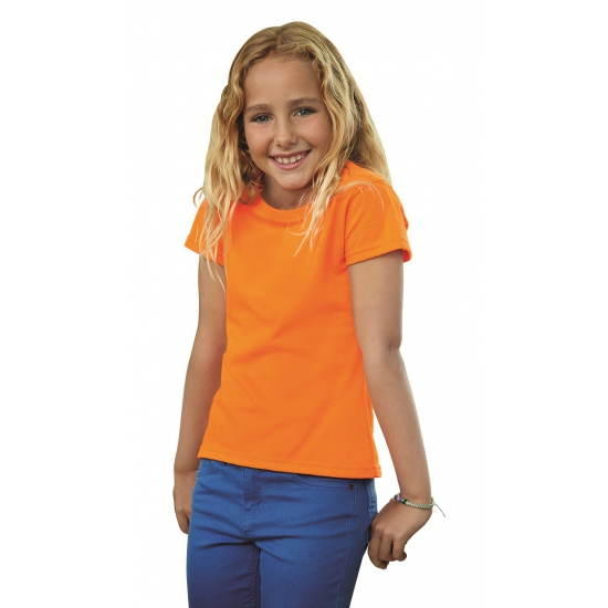 Oranje t shirt voor meiden Fruit Of The Loom beste