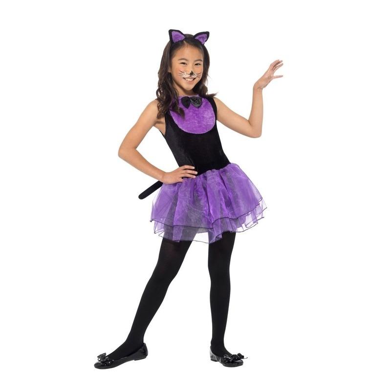 Paars/zwarte kat/poes kostuum voor meiden