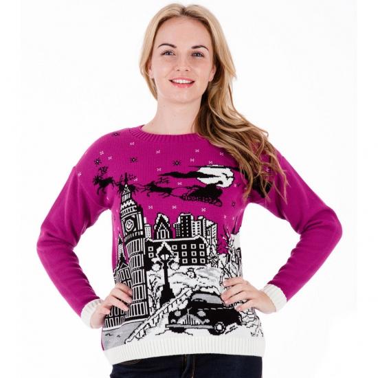 paarse-kersttrui-london-voor-dames