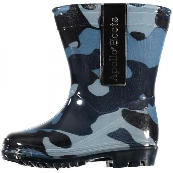Peuter regenlaarzen met camouflage print blauw Bellatio beste prijs