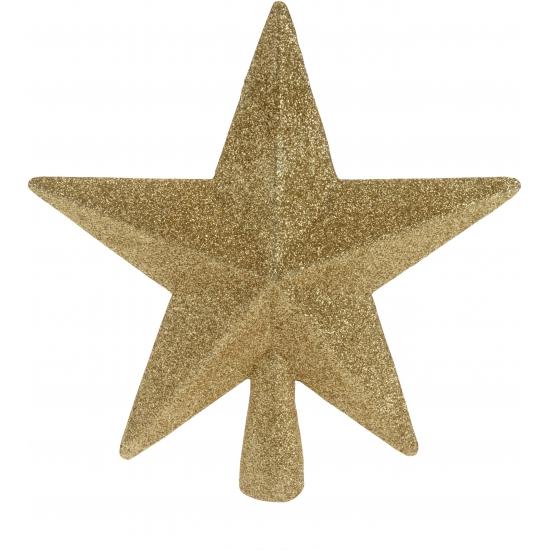 Kerst feestartikelen Geen Piek ster goud met glitters 19 cm