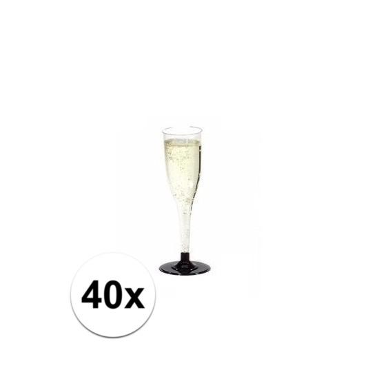 Plastic champagne glazen 40 stuks