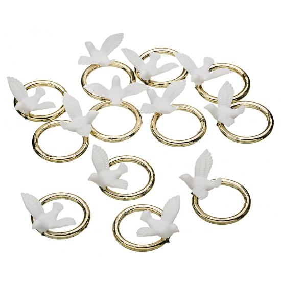 Plastic duifjes met ring 12 stuks
