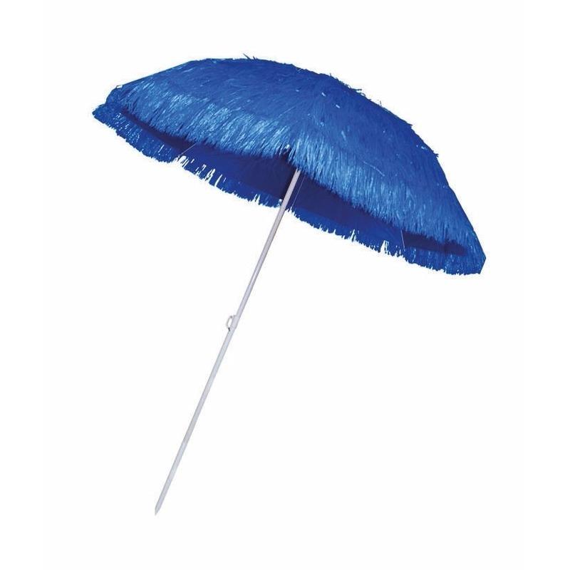 Rieten strand parasol blauw Bellatio Hawaii feestartikelen