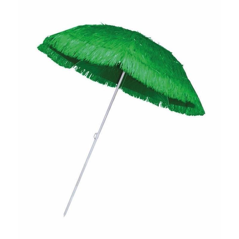Hawaii feestartikelen Bellatio Rieten strand parasol groen