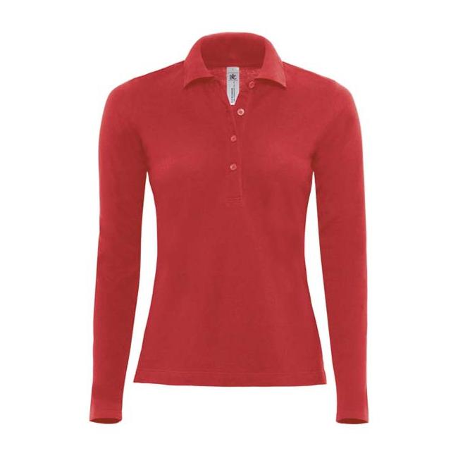 T shirts en poloshirts Sols Rode dames poloshirt lange mouw