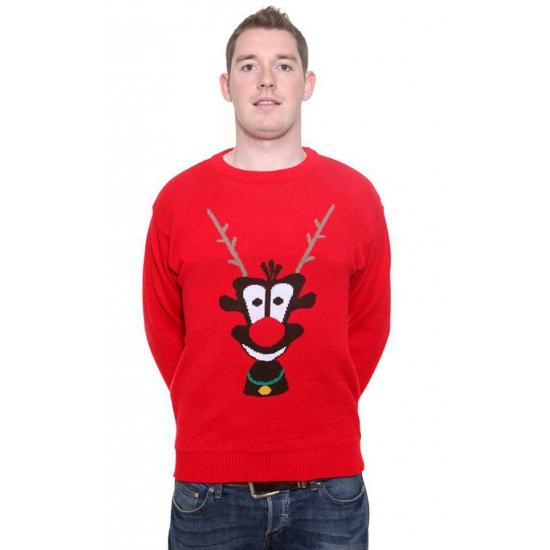 Bellatio Rode kersttrui Rudolph 3D Kerst kostuums