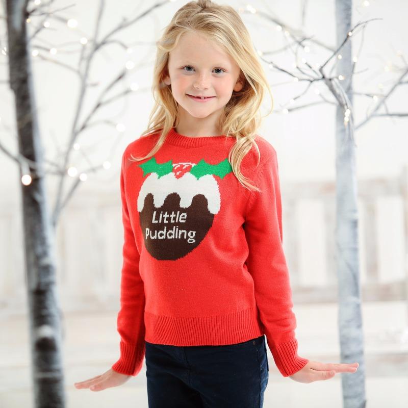 Rode kersttrui voor kinderen Little Pudding 5/6 jaar (116/122) Rood