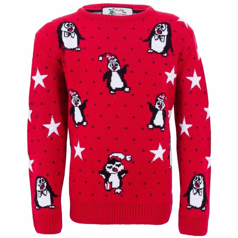 Rode meisjes kersttrui met pinguins 7/8 jaar (128) Rood
