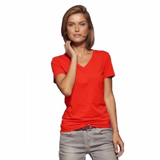 T shirts en poloshirts James Nicholson Rood dames stretch t shirt met V hals
