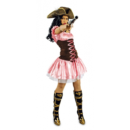 Roze dames piratenjurk