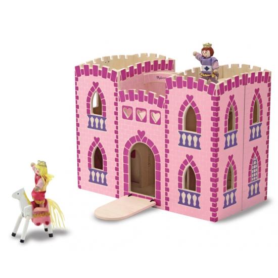 Roze houten kasteel met accessoires