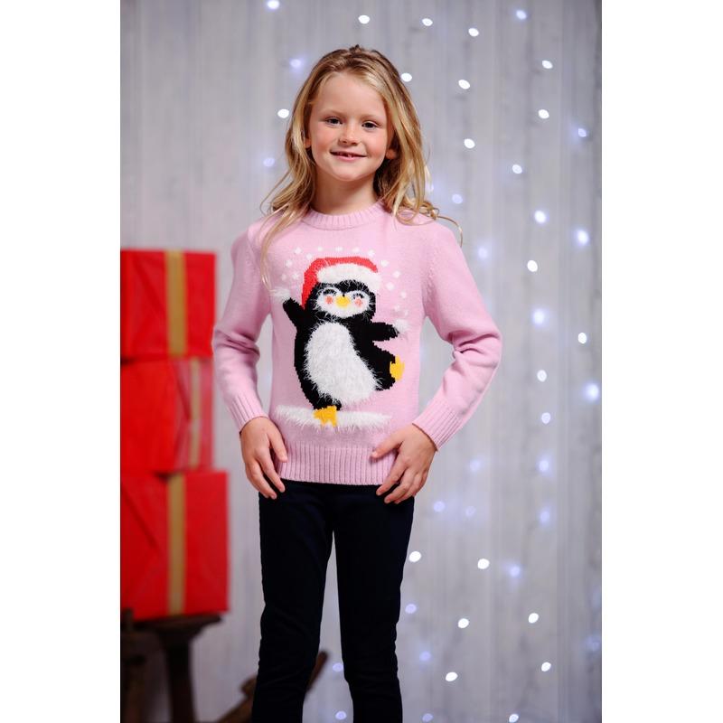 Roze kersttrui voor kinderen dansende pinguin 2/3 jaar (98/104) Roze