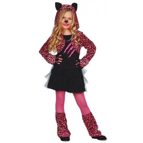 Roze luipaard carnaval / halloween jurkje voor meisjes