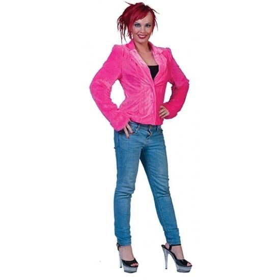 Roze pluche dames colbertje