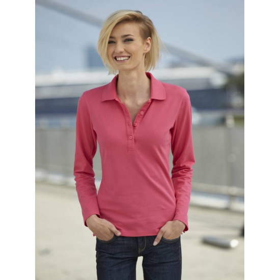 Roze stretch poloshirt voor dames James Nicholson T shirts en poloshirts