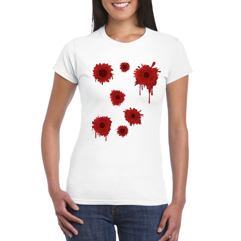 Schotwonden t-shirt wit dames