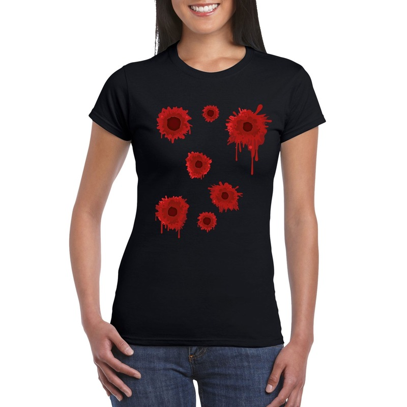 Schotwonden t-shirt zwart dames
