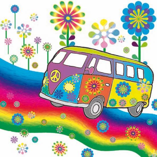 Feestartikelen diversen Servetten hippie thema 20 stuks