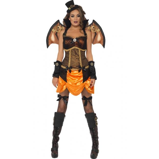 Sexy steampunk dames kostuum met vleugels