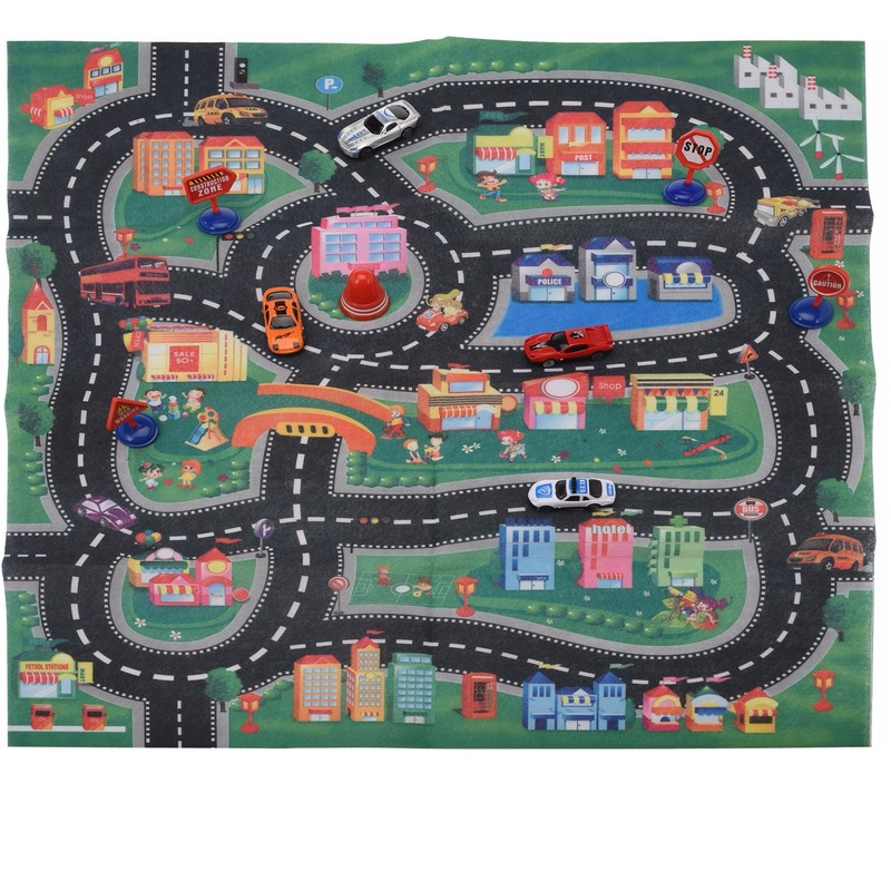 Speelkleed race circuit met 4 racewagens