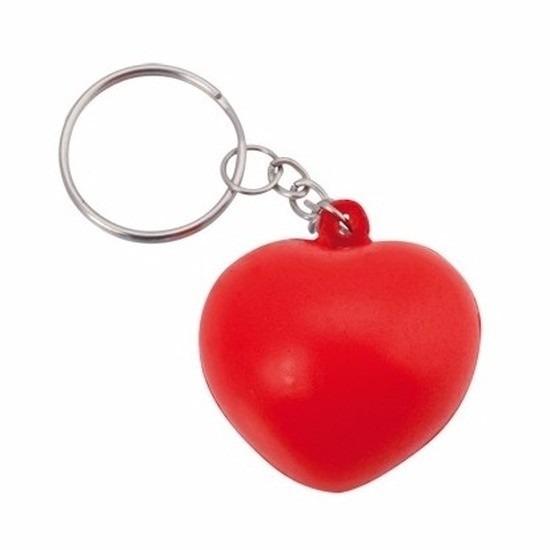 Geen Stressbal sleutelhanger hartje 3,6 cm Rood