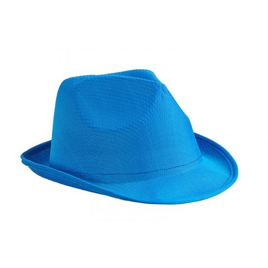 Trilby feesthoed blauw voor volwassenen