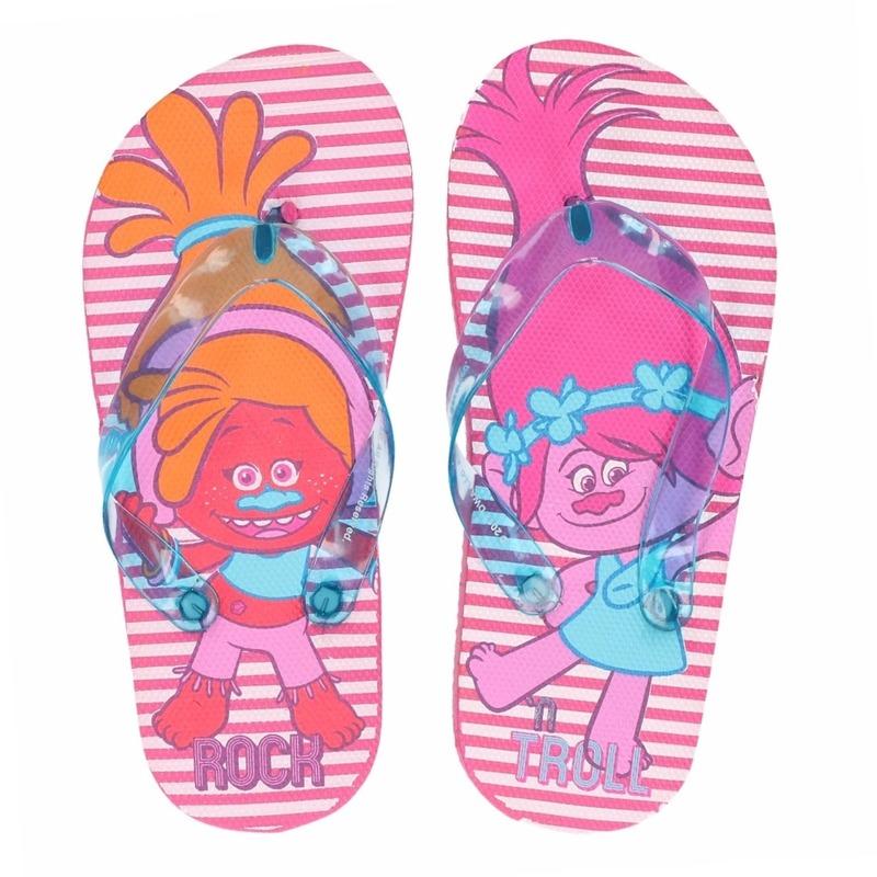 Trolls teenslippers roze gestreept voor meisjes Trolls Schoenen en laarzen