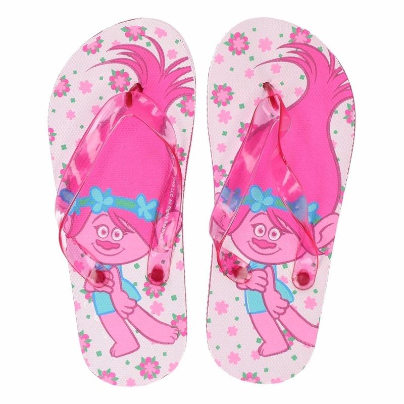 Schoenen en laarzen Trolls teenslippers wit roze voor meisjes