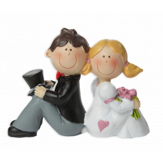 Trouwfiguurtje bruidspaar zittend cm bruidstaart