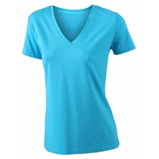 T shirts en poloshirts James Nicholson Turquoise dames stretch t shirt met V hals