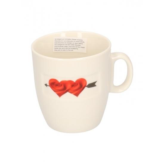 Valentijn koffiekop met 2 bloemhartjes