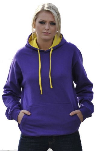 Truien en sweaters Varsity sweater paars met gele capuchon