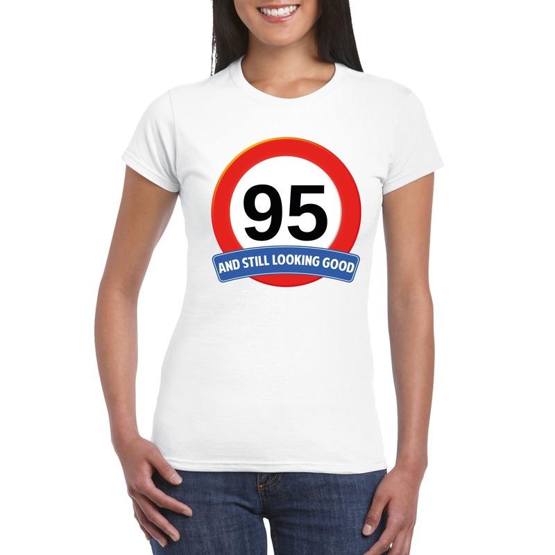 Verkeersbord 95 jaar t-shirt wit dames