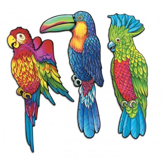 Bellatio Wanddecoratie tropische vogels 3 stuks Hawaii feestartikelen