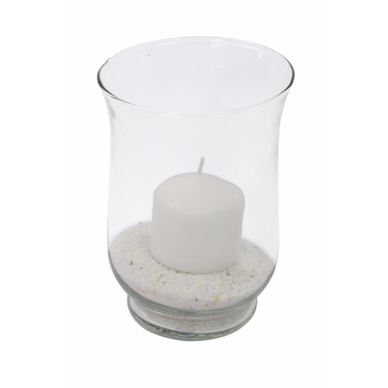 Windlicht van glas met kaars en zand