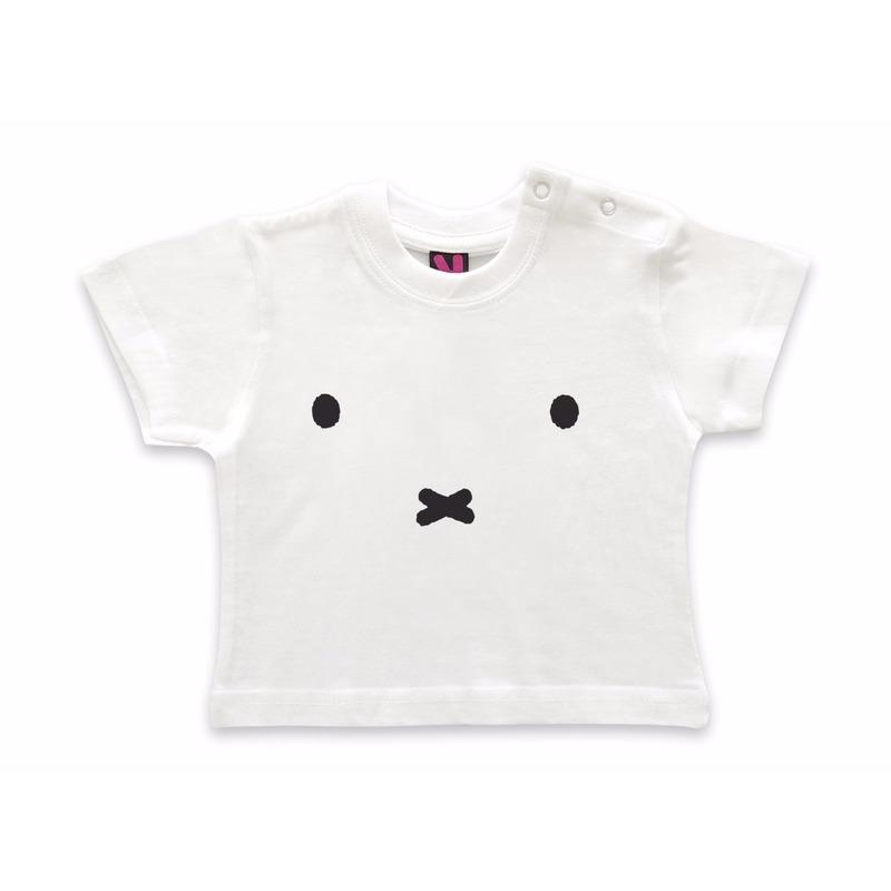 Nijntje Wit baby t shirt met Nijntje snoet T shirts en poloshirts