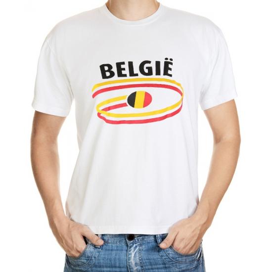 Landen versiering en vlaggen Wit heren t shirt Belgie