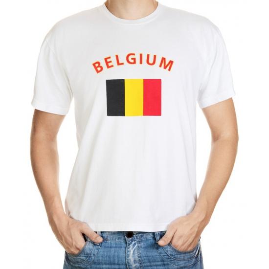 Landen versiering en vlaggen Wit t shirt Belgie heren