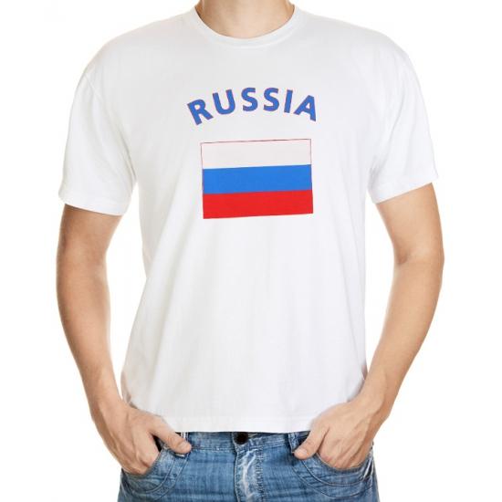 Wit t shirt Rusland heren Shoppartners Landen versiering en vlaggen